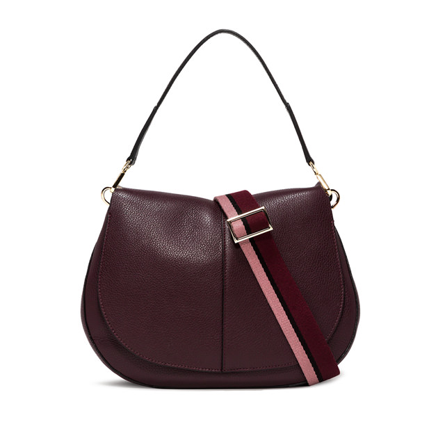 GIANNI CHIARINI: LARGE SIZE HELENA ROUND CROSSBODY BAG COLOR BURGUNDY