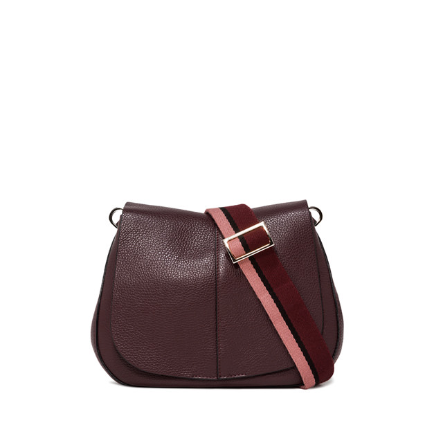 GIANNI CHIARINI: MEDIUM SIZE HELENA ROUND CROSSBODY BAG COLOR BURGUNDY