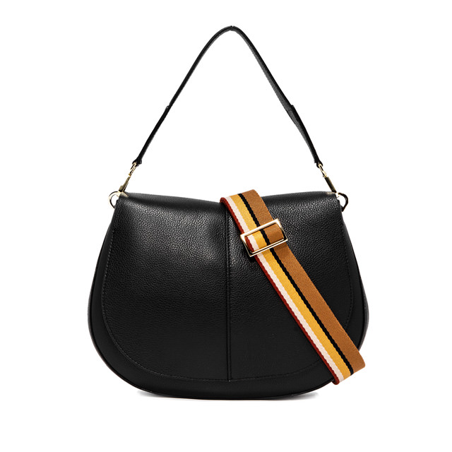 GIANNI CHIARINI HELENA  ROUND  MEDIUM BLACK SHOULDER BAG