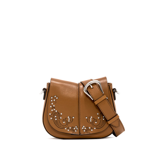 GIANNI CHIARINI: MEDIUM SIZE HELENA ROUND CROSSBODY BAG COLOR BROWN
