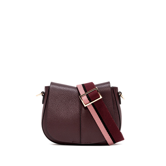 GIANNI CHIARINI SMALL SIZE HELENA ROUND CROSSBODY BAG COLOR BURGUNDY