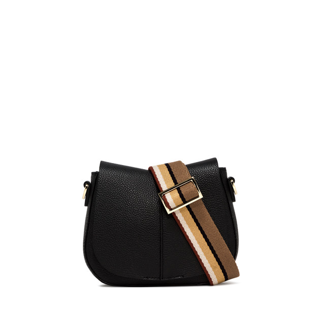 GIANNI CHIARINI HELRUA  ROUND  SMALL  BLACK CROSS  BODY  BAG