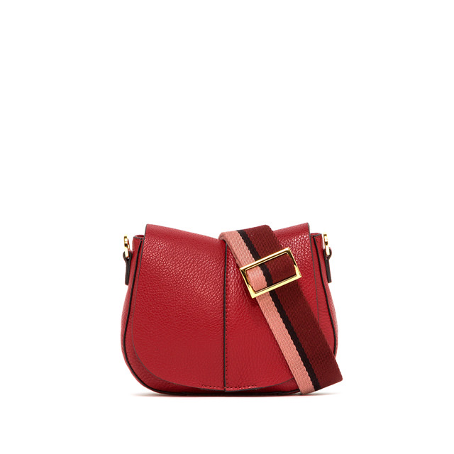 GIANNI CHIARINI: SMALL SIZE HELENA ROUND CROSSBODY BAG COLOR RED