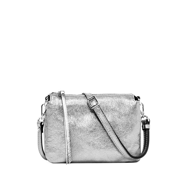 GIANNI CHIARINI: BORSA A TRACOLLA THREE MEDIUM SILVER
