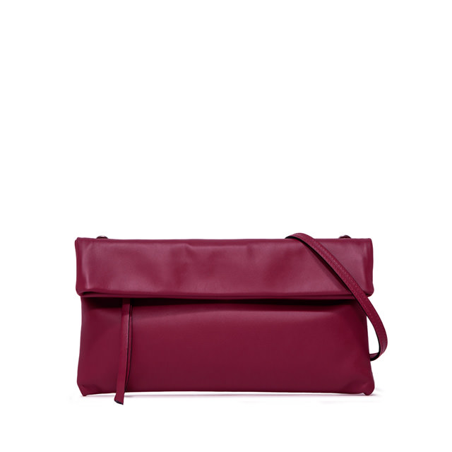 GIANNI CHIARINI: CHERRY  MEDIUM  BURGUNDY  CLUTCH  BAG