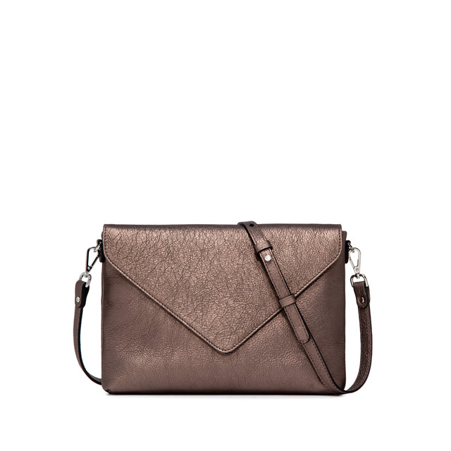 GIANNI CHIARINI: VICTORIA  MEDIUM  BRONZE  CLUTH  BAG