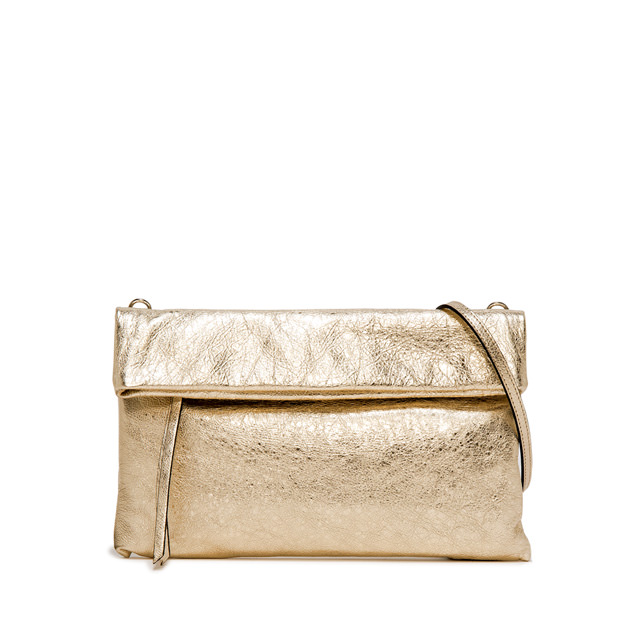 GIANNI CHIARINI: CHERRY LARGE GOLD CLUTCH BAG