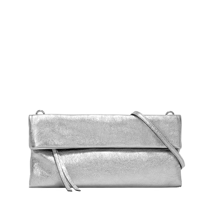 GIANNI CHIARINI MEDIUM SIZE CHERRY CLUTCH BAG SILVER TONE