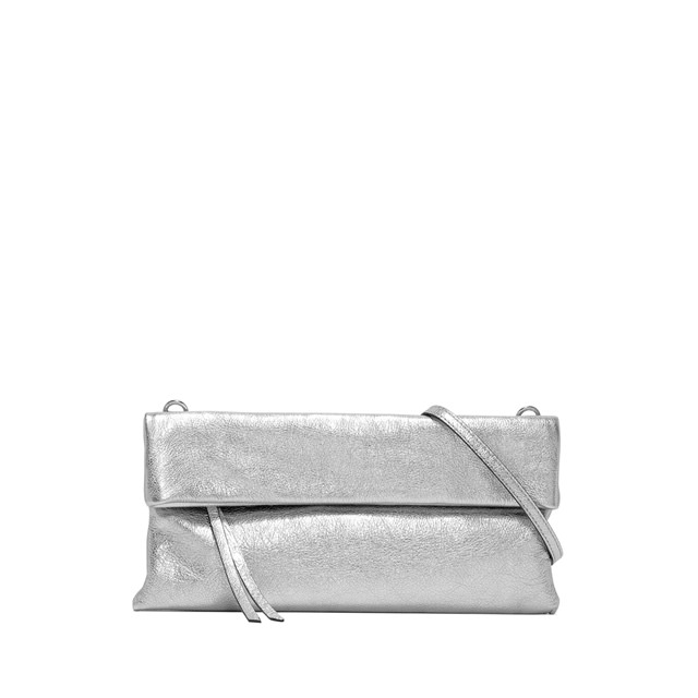 GIANNI CHIARINI: CHERRY SMALL SILVER CLUTCH BAG