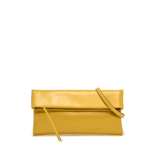 GIANNI CHIARINI: CHERRY SMALL YELLOW CLUTCH BAG