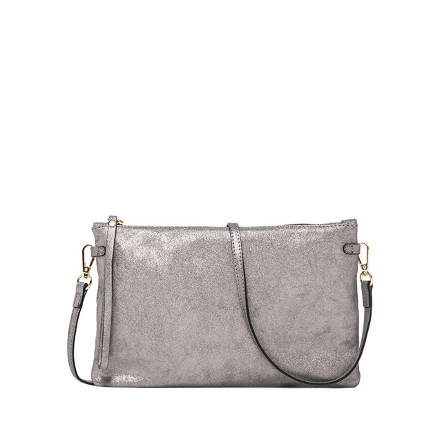 GIANNI CHIARINI: LARGE SIZE HERMY CLUTCH COLOR SILVER