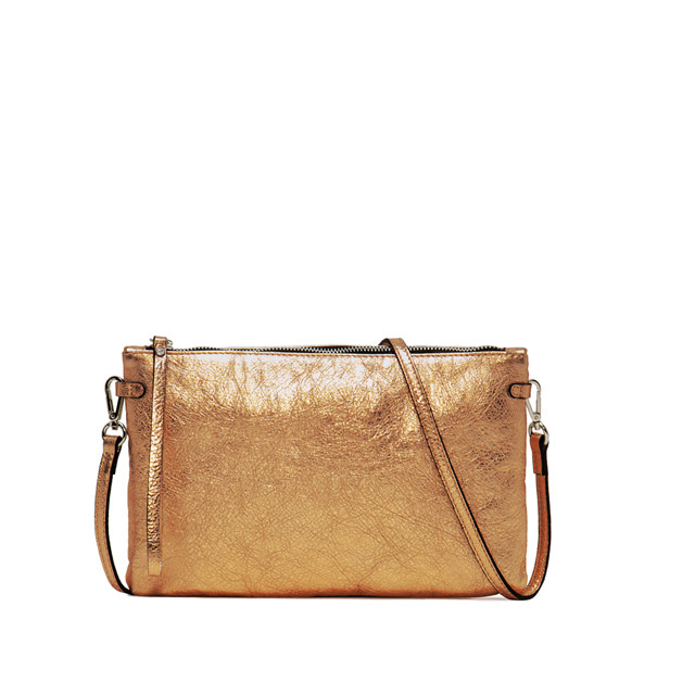 GIANNI CHIARINI: HERMY LAMINATO LARGE BRONZE CLUTCH BAG