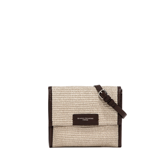 GIANNI CHIARINI MEDIUM SIZE MARCELLA STRAW CLUTCH COLOR BEIGE/YELLOW