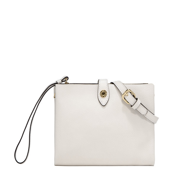 GIANNI CHIARINI PALOMA MEDIUM WHITE CLUTCH BAG