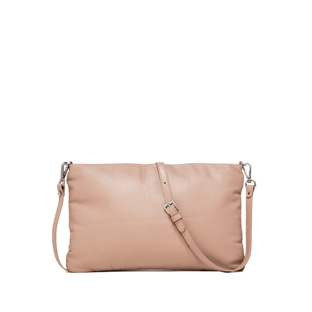 GIANNI CHIARINI PIUMA SUPERSOFT MEDIUM NUDE CLUTCH BAG