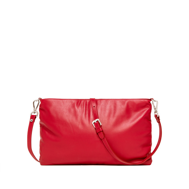 GIANNI CHIARINI PIUMA SUPERSOFT MEDIUM RED CLUTCH BAG