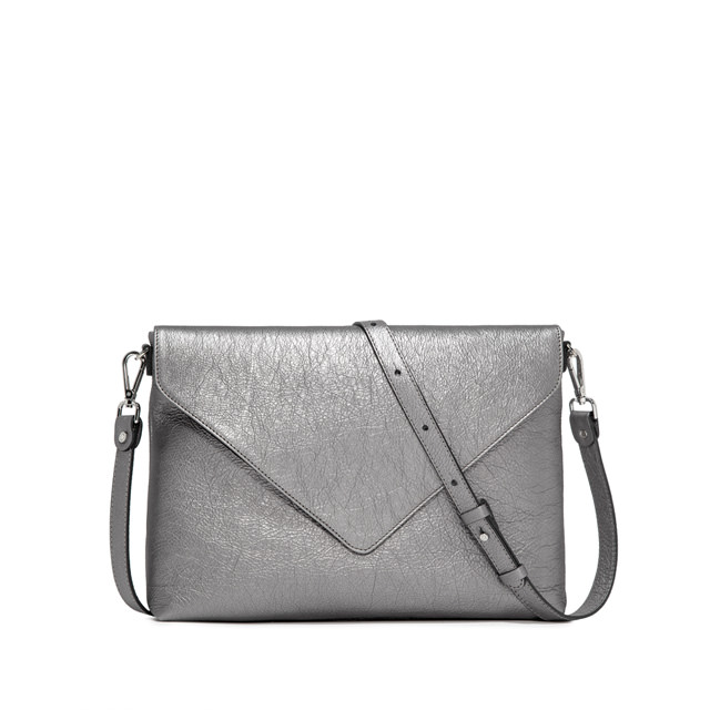 GIANNI CHIARINI VICTORIA LARGE SILVER CLUTCH BAG