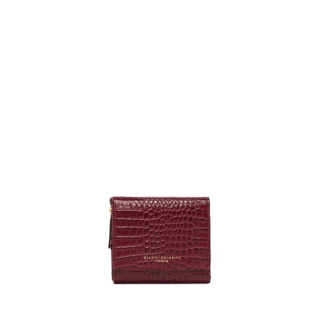 GIANNI CHIARINI: LARGE SIZE ESSENTIAL ZIP WALLET COLOR BORDEAUX