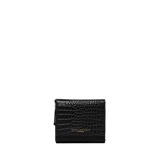 GIANNI CHIARINI: LARGE SIZE ESSENTIAL ZIP WALLET COLOR BLACK