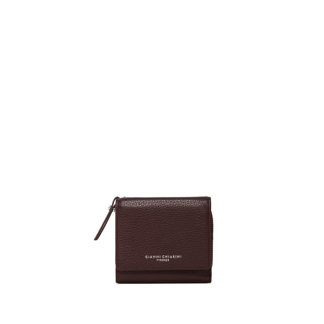 GIANNI CHIARINI: MEDIUM SIZE ESSENTIAL ZIP WALLET COLOR BURGUNDY