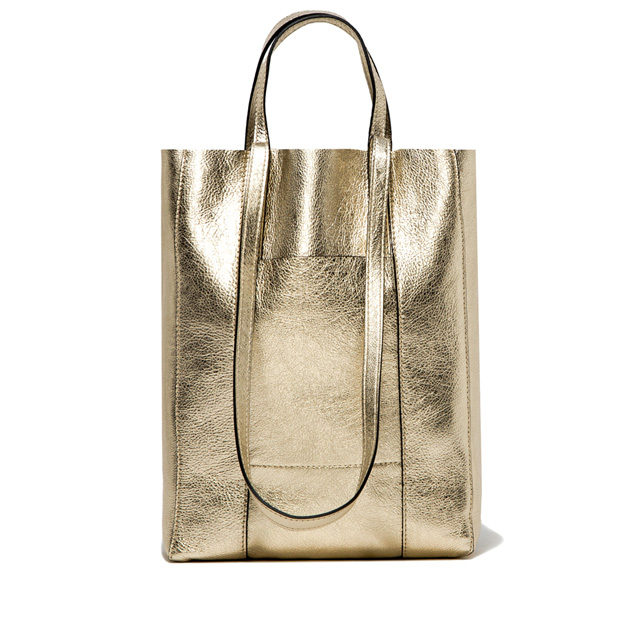 GIANNI CHIARINI SUPERLIGHT LARGE PLATINUM SHOPPING BAG