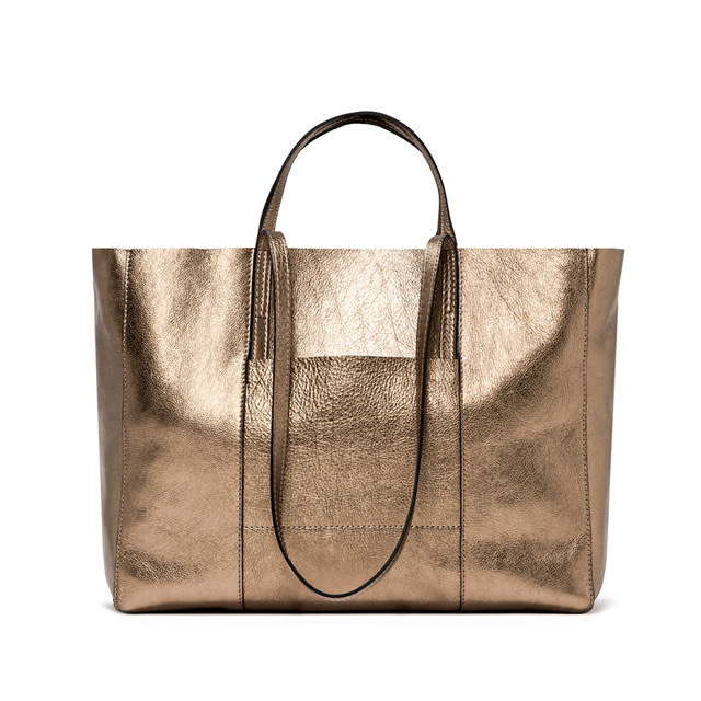 GIANNI CHIARINI SUPERLIGHT LARGE CHAMPAGNE SHOPPING BAG