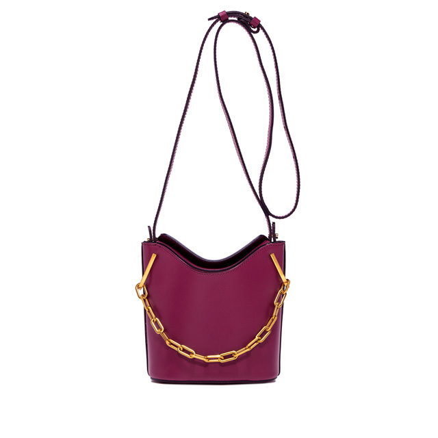 GIANNI CHIARINI: SOPHIA  MEDIUM  BURGUNDY  BUCKET  BAG