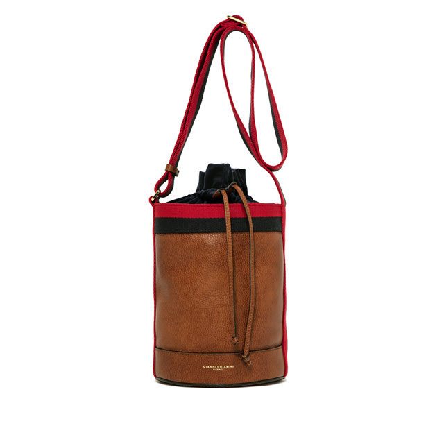 GIANNI CHIARINI: LENI LARGE BROWN BUCKET BAG