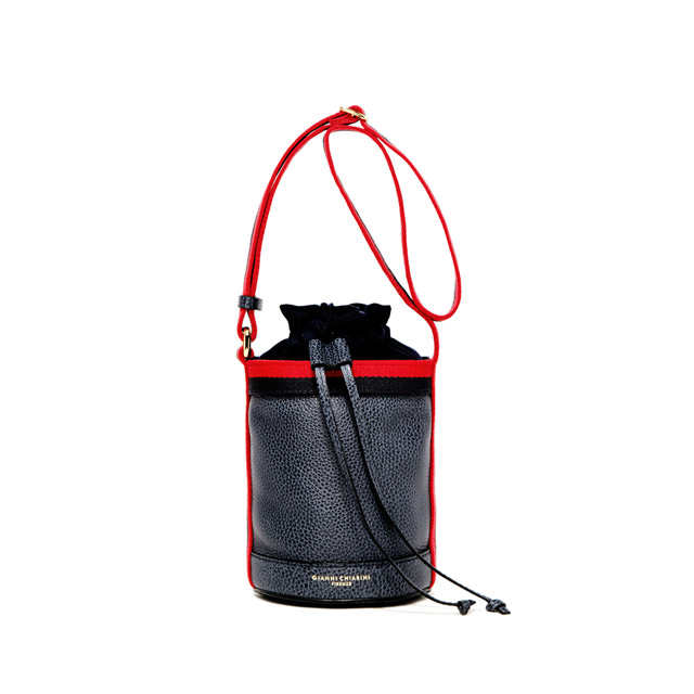 GIANNI CHIARINI: LENI MEDIUM BLUE BUCKET BAG
