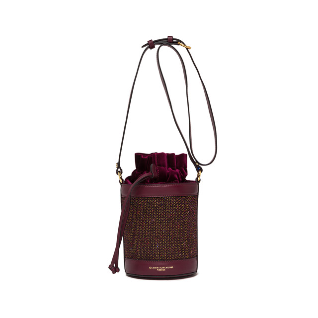 GIANNI CHIARINI: MEDIUM SIZE LENI BUCKET BAG COLOR BURGUNDY
