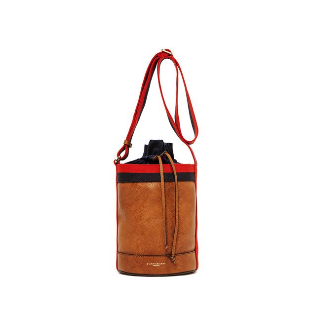 GIANNI CHIARINI LENI MEDIUM BROWN BUCKET BAG