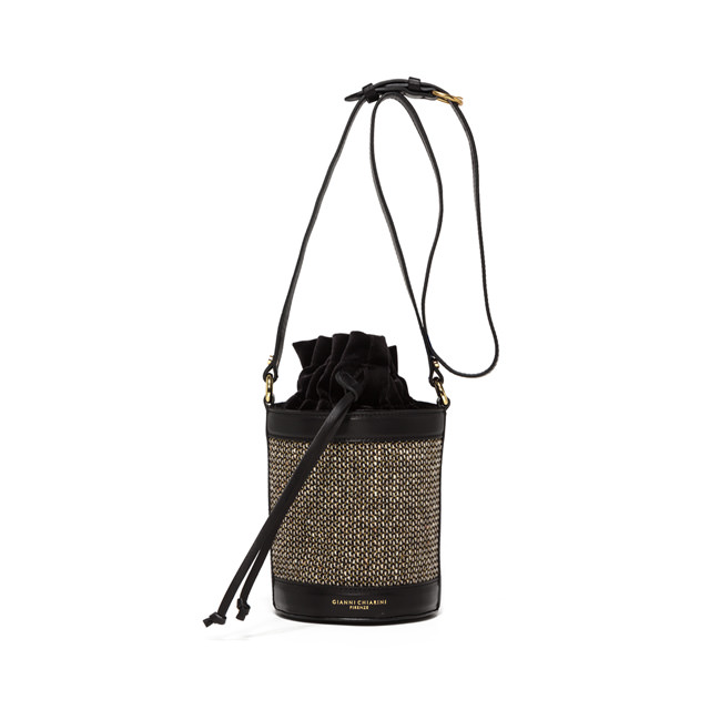 GIANNI CHIARINI: MEDIUM SIZE LENI BUCKET BAG COLOR BLACK