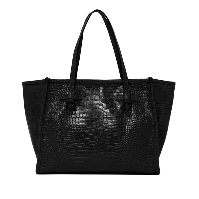 GIANNI CHIARINI: BLACK MARCELLA MEDIUM SHOPPING
