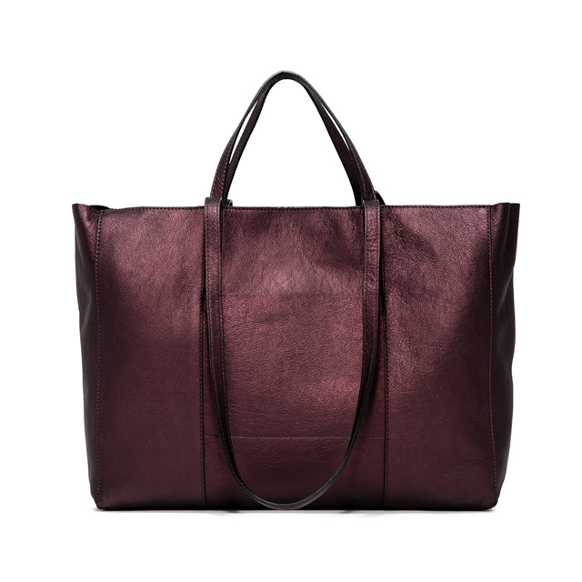 GIANNI CHIARINI SUPERLIGHT  ZIP  LARGE  BURGUNDY  SHOPPING  BAG