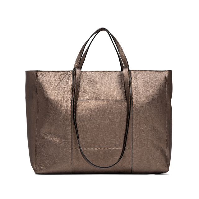 GIANNI CHIARINI SUPERLIGHT  ZIP  LARGE  BRONZE  SHOPPING  BAG