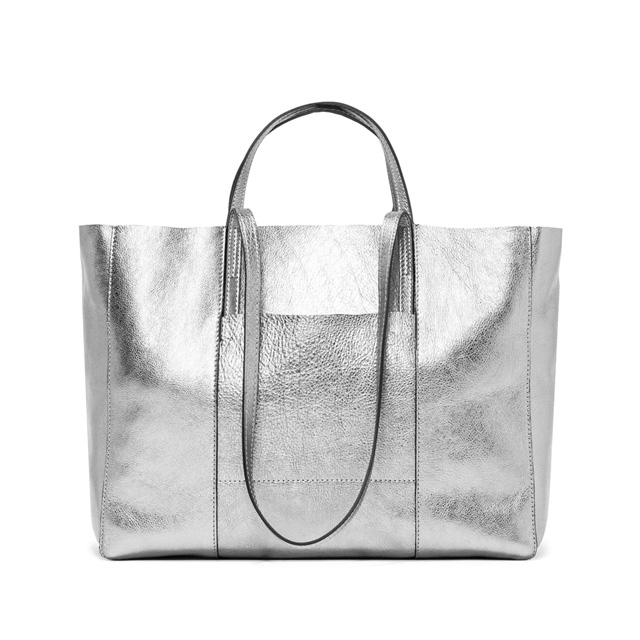 GIANNI CHIARINI SUPERLIGHT LARGE SILVER SHOPPING BAG