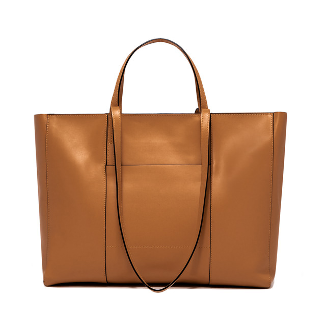 GIANNI CHIARINI: LARGE SIZE SUPERLIGHT ZIP SHOPPING BAG COLOR BROWN
