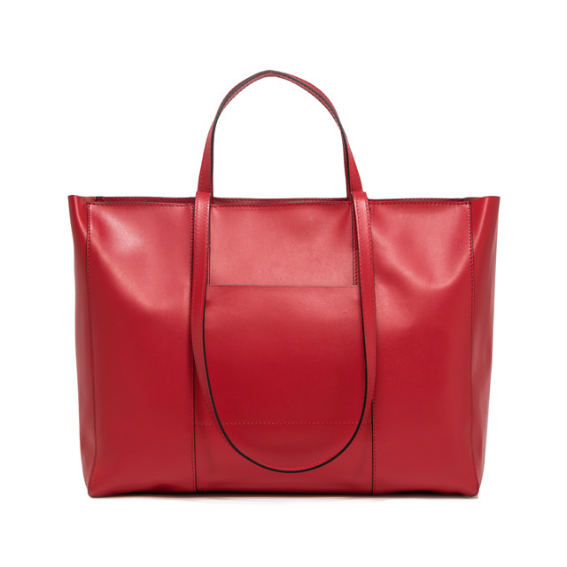 GIANNI CHIARINI: LARGE SIZE SUPERLIGHT ZIP SHOPPING BAG COLOR RED
