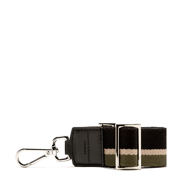 GIANNI CHIARINI: 3STRIPES SHOULDER STRAP COLOR GREEN/BLACK