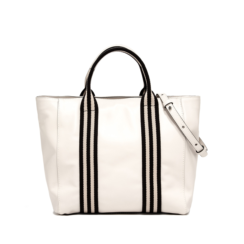 GIANNI CHIARINI: GINGER MEDIUM WHITE SHOPPING BAG