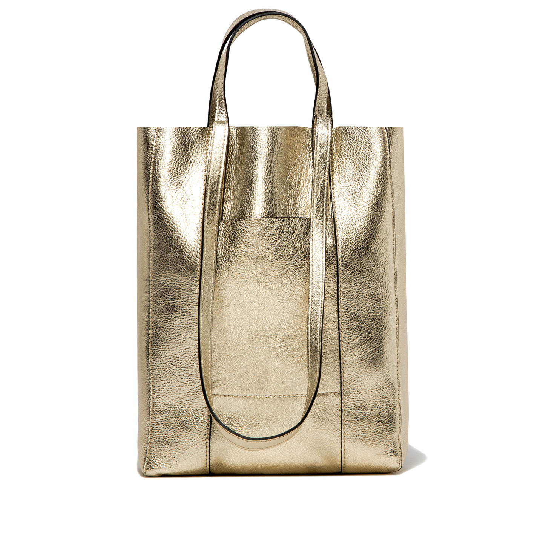 GIANNI CHIARINI: SUPERLIGHT LARGE PLATINUM SHOPPING BAG