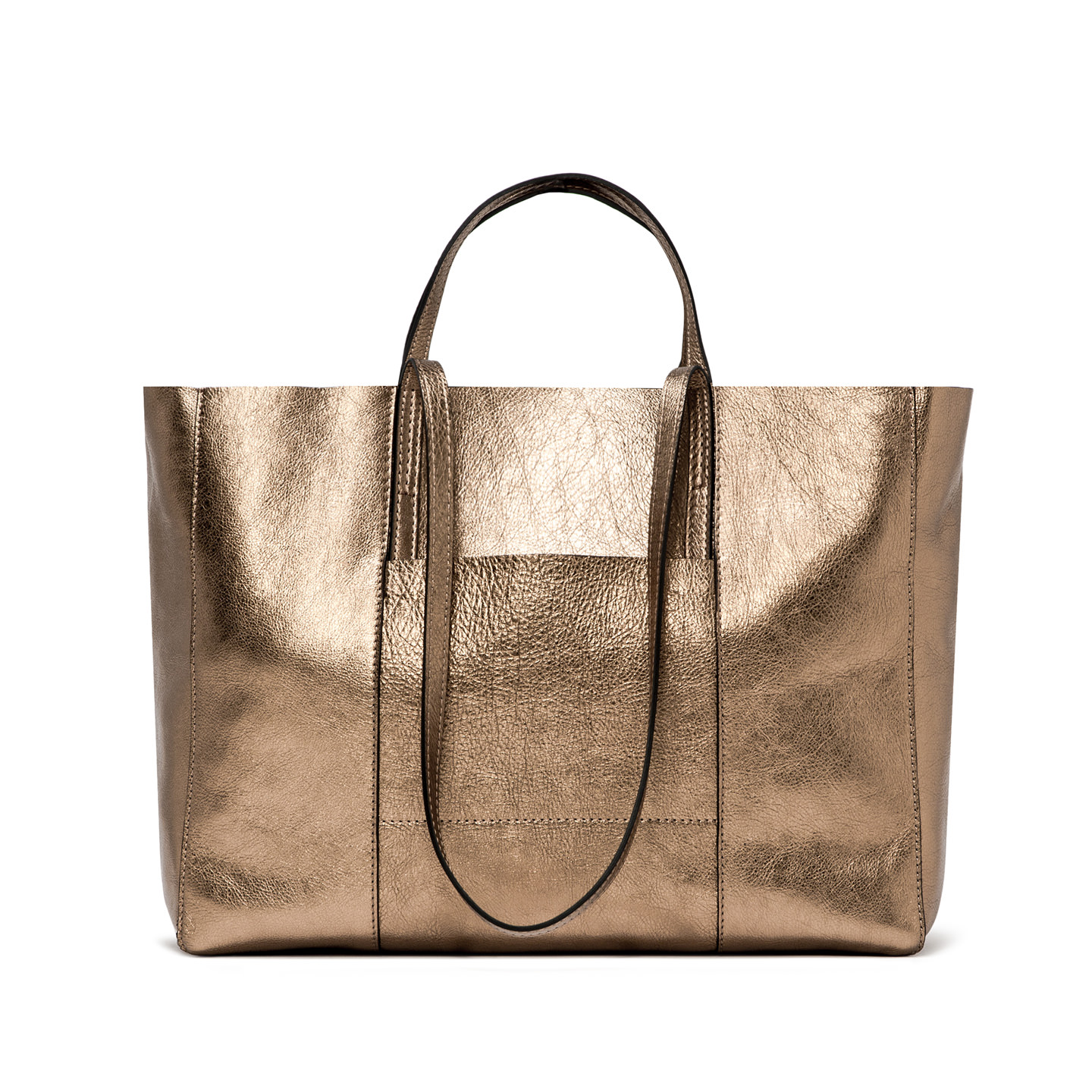 GIANNI CHIARINI: SUPERLIGHT LARGE CHAMPAGNE SHOPPING BAG
