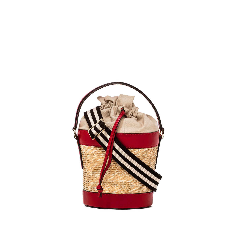 GIANNI CHIARINI: FIORENZA LARGE RED BUCKET BAG